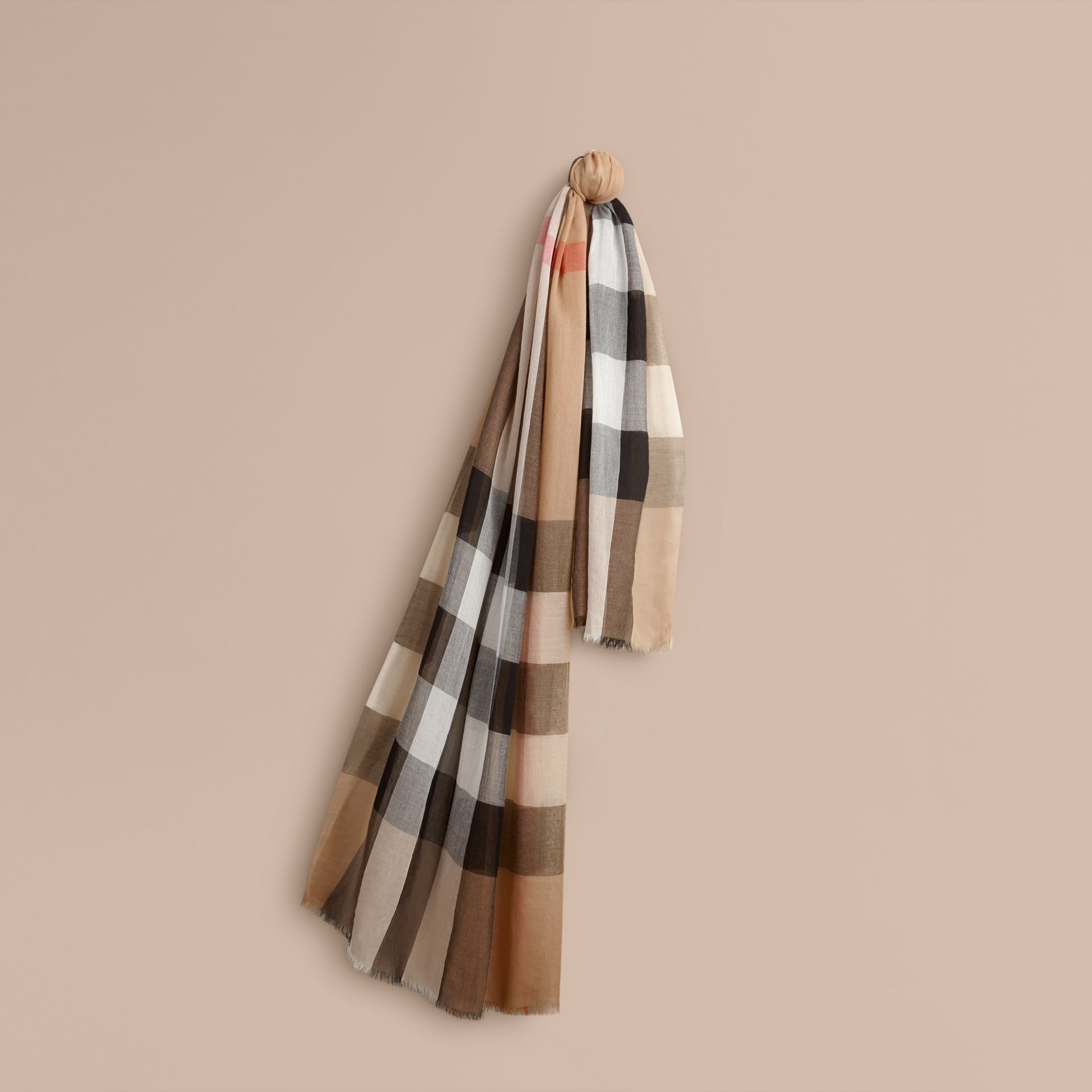 Check Modal Cashmere and Silk Scarf in Camel - gallery image 1