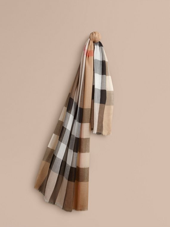 Check Modal Cashmere and Silk Scarf in Camel | Burberry