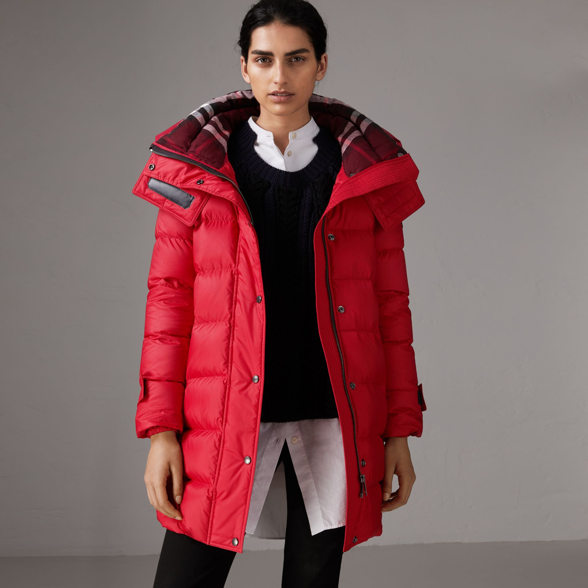 Down-filled Puffer Coat With Detachable Hood in Parade Red - Women | Burberry United Kingdom - gallery image 1