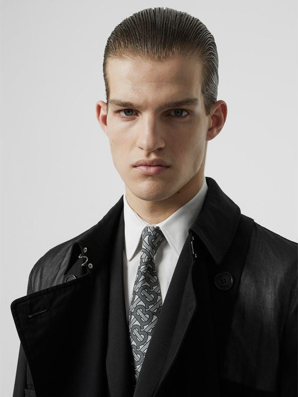 Classic Cut Monogram Print Silk Tie in Mid Grey - Men | Burberry - cell image 2