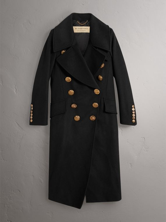 Bird Button Wool Blend Military Coat in Black - Women | Burberry United States - cell image 3