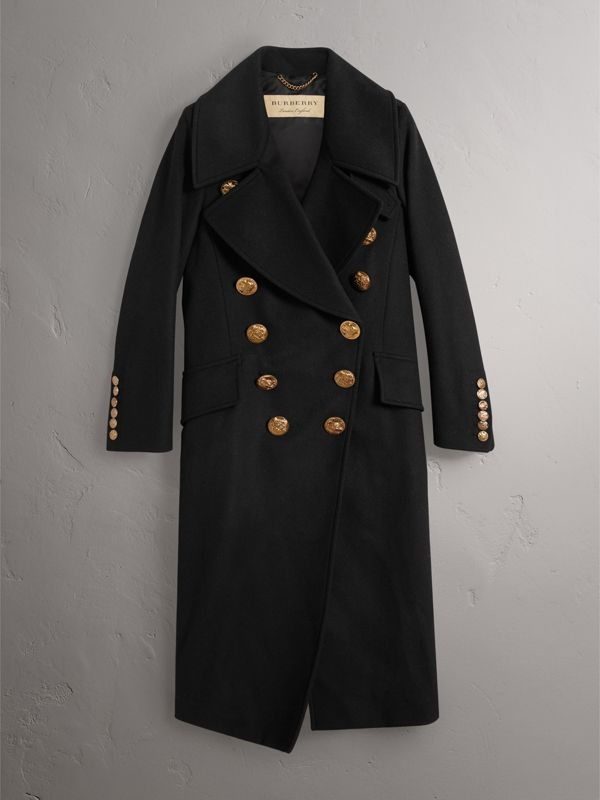 Bird Button Wool Blend Military Coat in Black - Women | Burberry - cell image 3