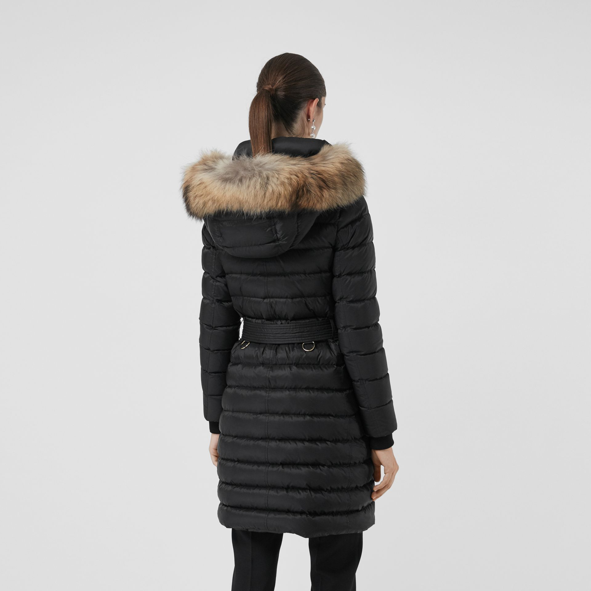 Detachable Fur Trim Down-filled Puffer Coat with Hood in Black - Women | Burberry - gallery image 2
