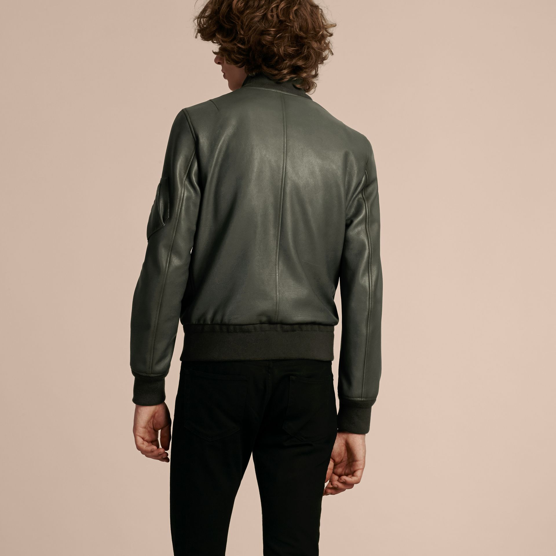 Dark steel Leather Bomber Jacket with Stand Collar - gallery image 3