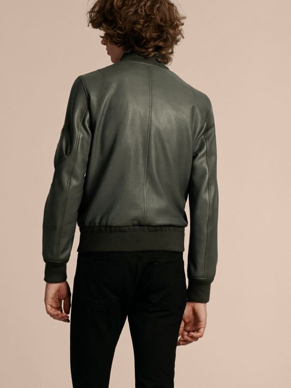 Dark steel Leather Bomber Jacket with Stand Collar - cell image 2