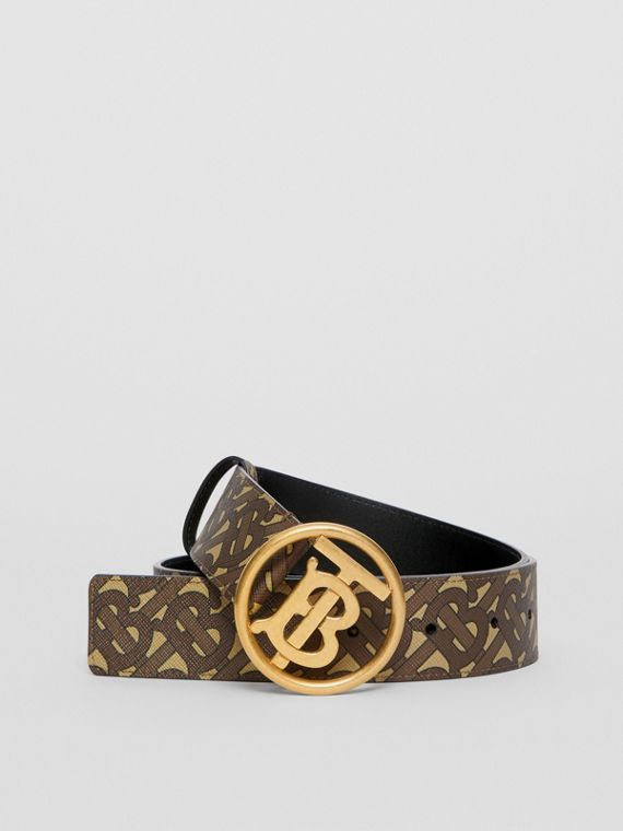 Monogram Motif Monogram Print E-canvas Belt in Bridle Brown