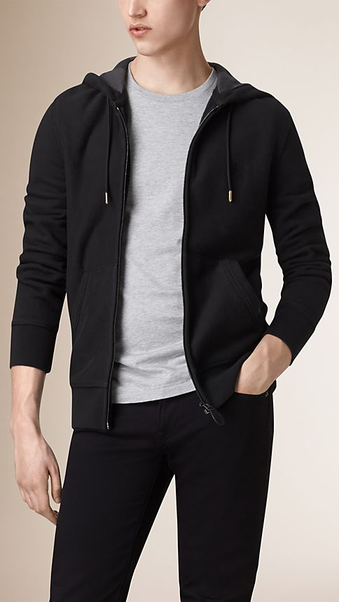 Black Hooded Cotton Jersey Top - Image 1
