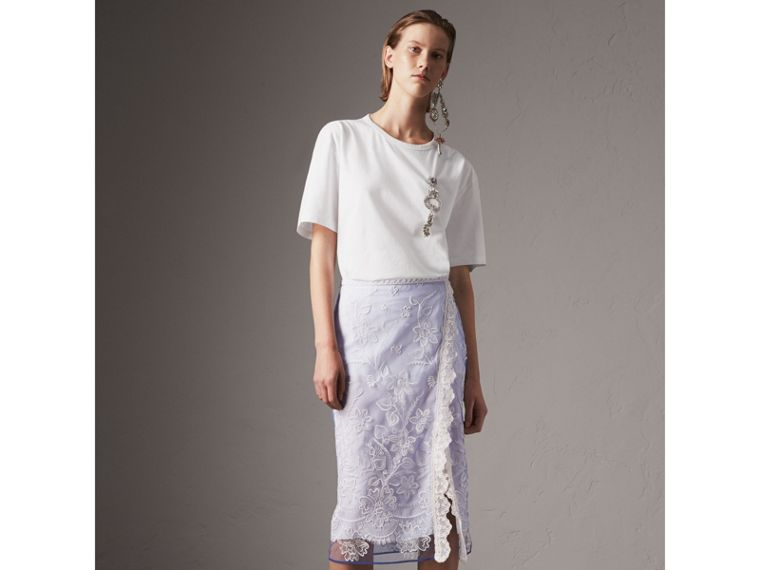 Floral-embroidered Tulle Skirt in Hydrangea Blue/white - Women | Burberry United Kingdom - cell image 4