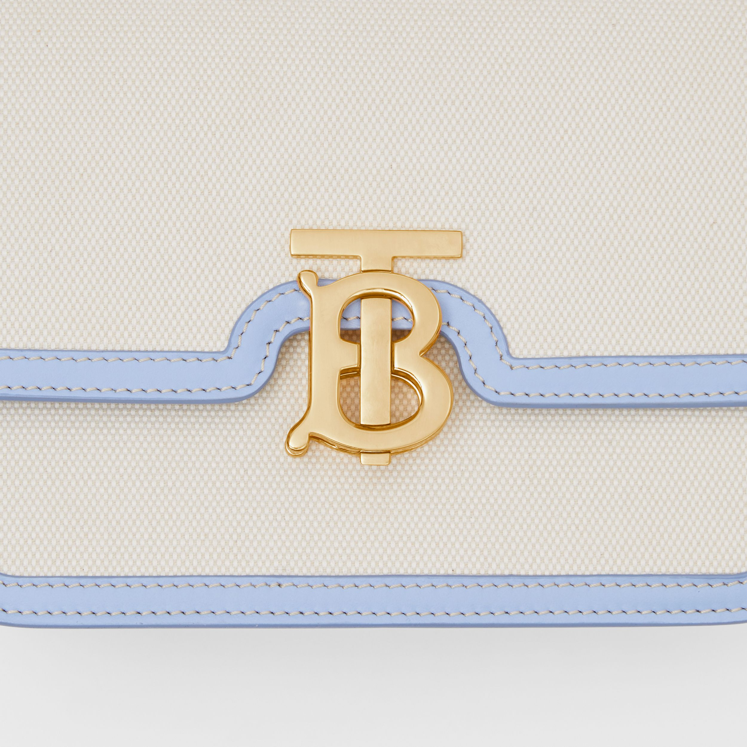 Small Two-tone Canvas and Leather TB Bag in Natural/pale Blue | Burberry - 2