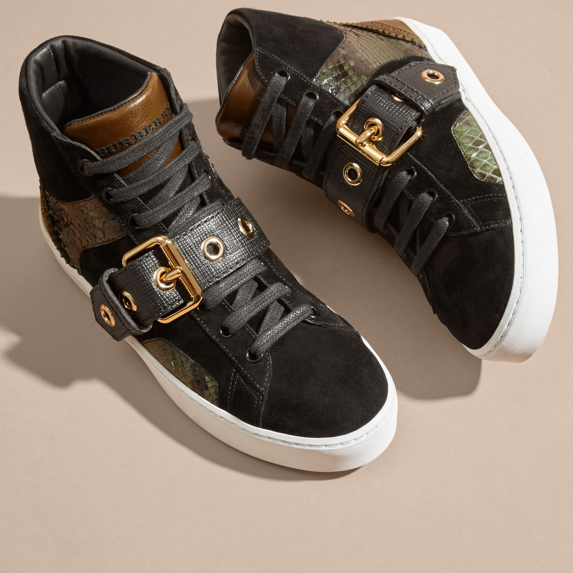 Buckle Detail Leather and Snakeskin High-top Trainers Military Olive - gallery image 3