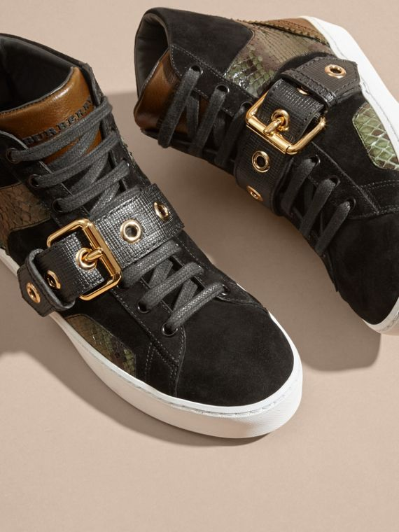 Buckle Detail Leather and Snakeskin High-top Trainers Military Olive - cell image 2
