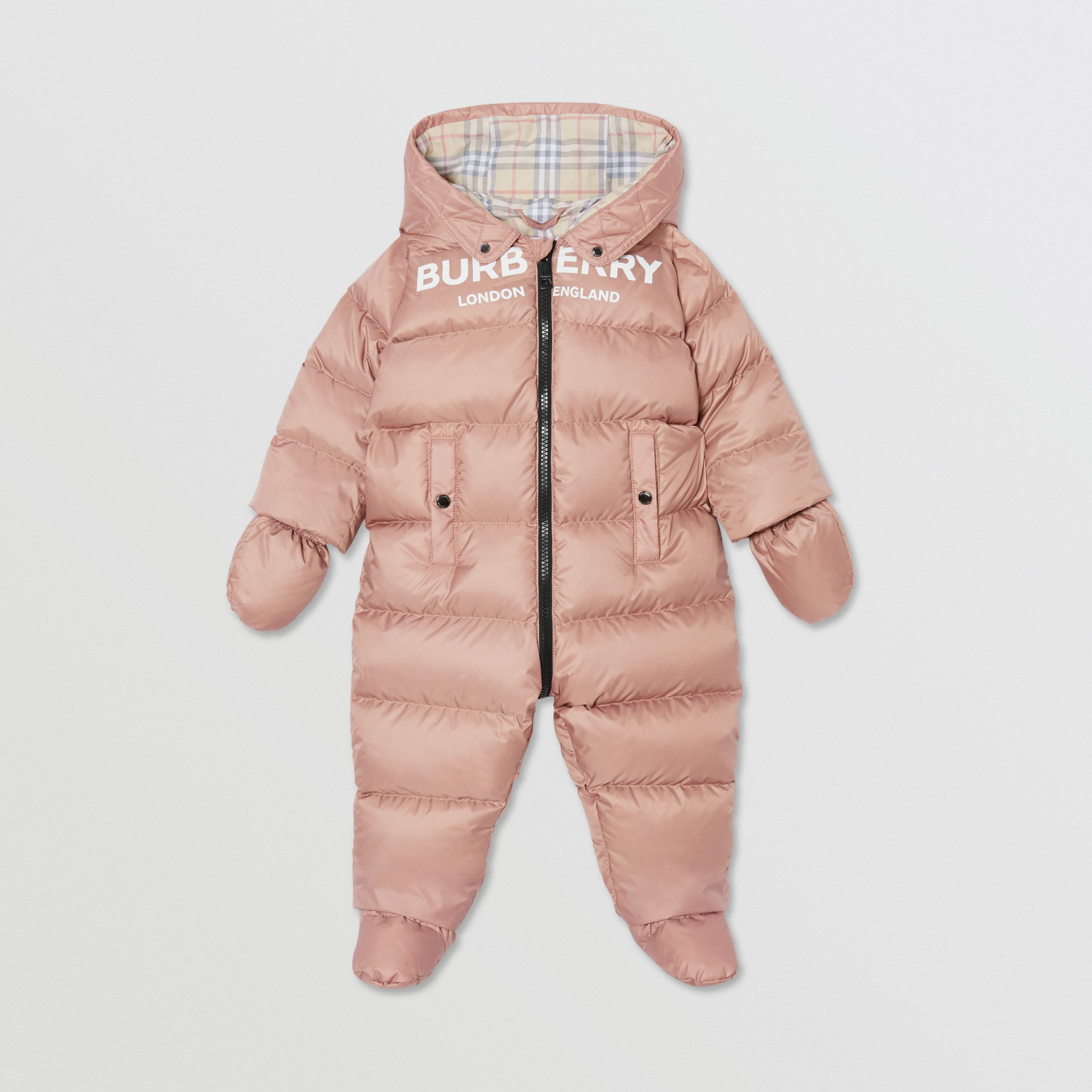 Logo Print Down-filled Puffer Suit in Lavender Pink - Children | Burberry - 1