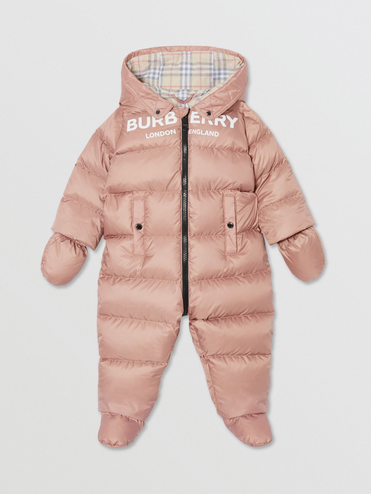 Logo Print Down-filled Puffer Suit in Lavender Pink
