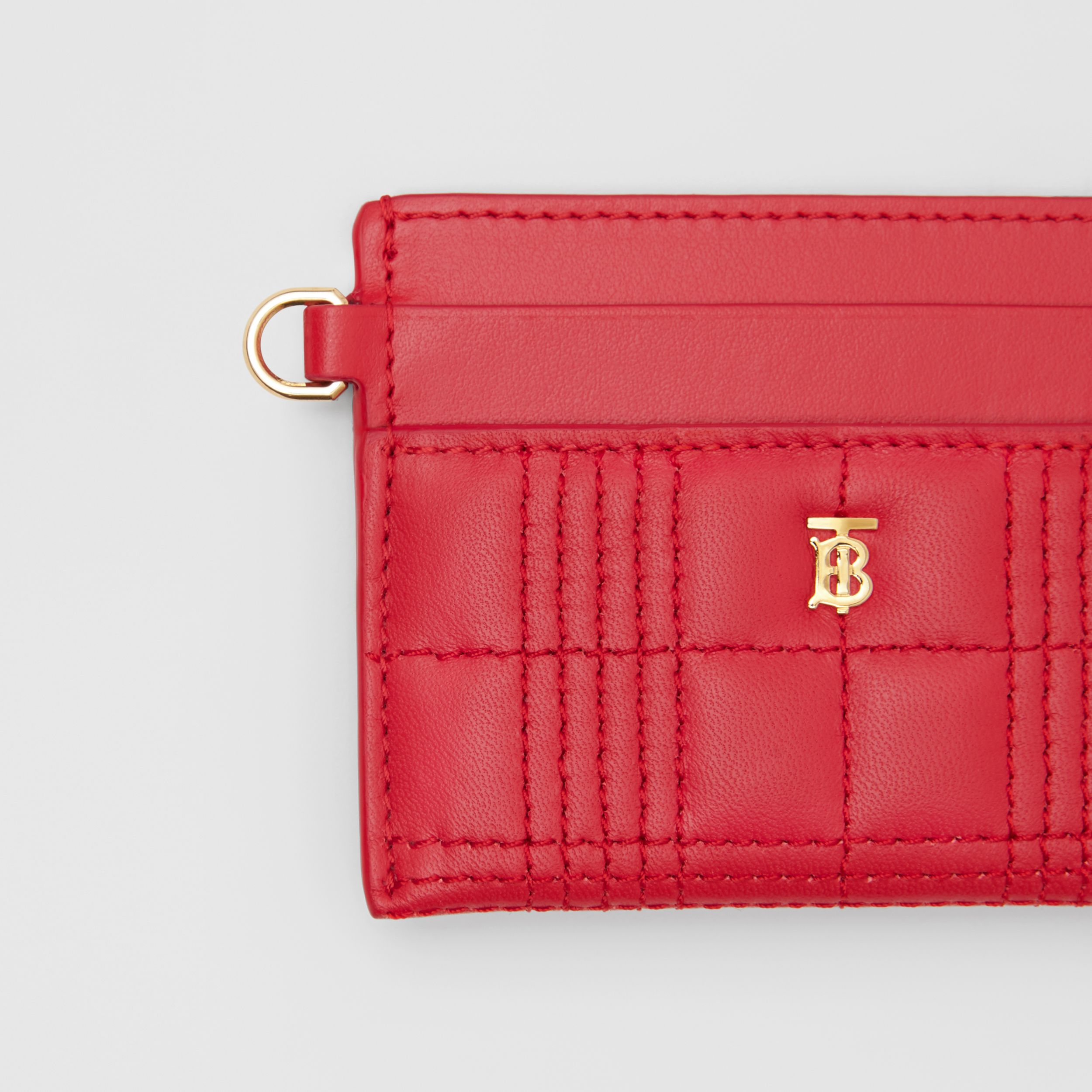 Monogram Motif Quilted Lambskin Card Case in Bright Red - Women | Burberry - 2