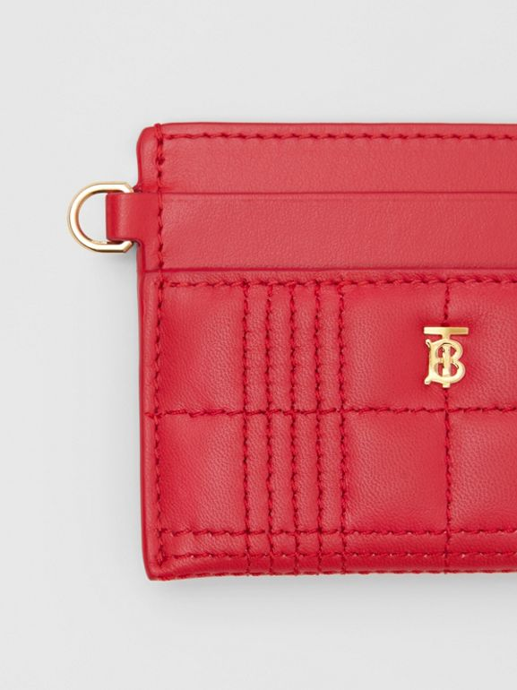 Monogram Motif Quilted Lambskin Card Case in Bright Red - Women | Burberry Hong Kong S.A.R - cell image 1