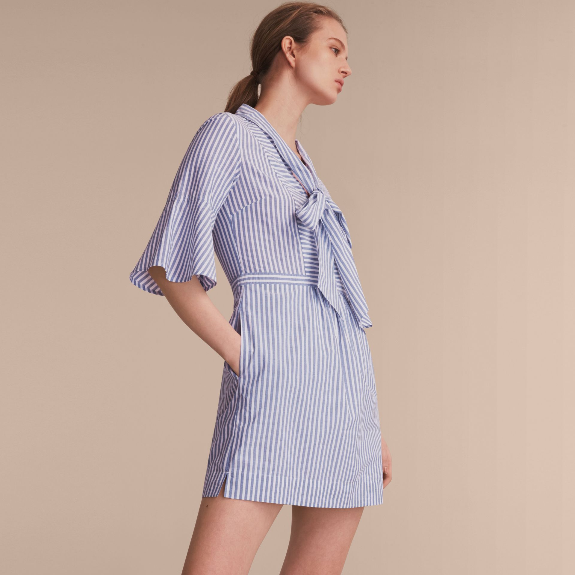 Bell-sleeve Striped Shirt Dress with Tie Neck in Pale Blue/white - Women | Burberry - gallery image 6