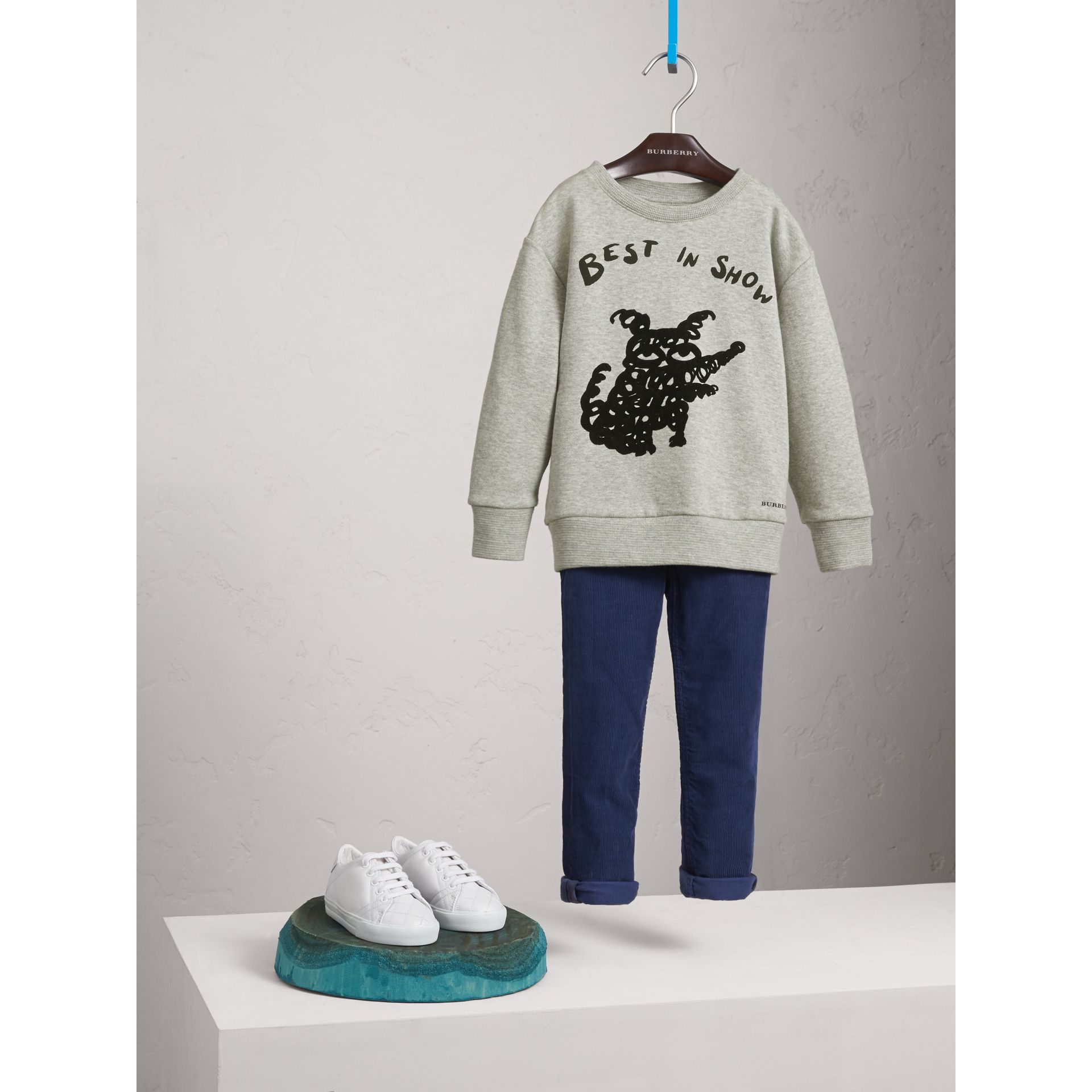 Best in Show Print Cotton Jersey Sweatshirt in Grey Melange - Boy | Burberry Australia - gallery image 1