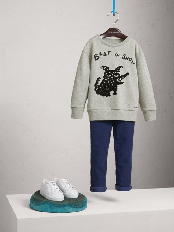 Best in Show Print Cotton Jersey Sweatshirt in Grey Melange