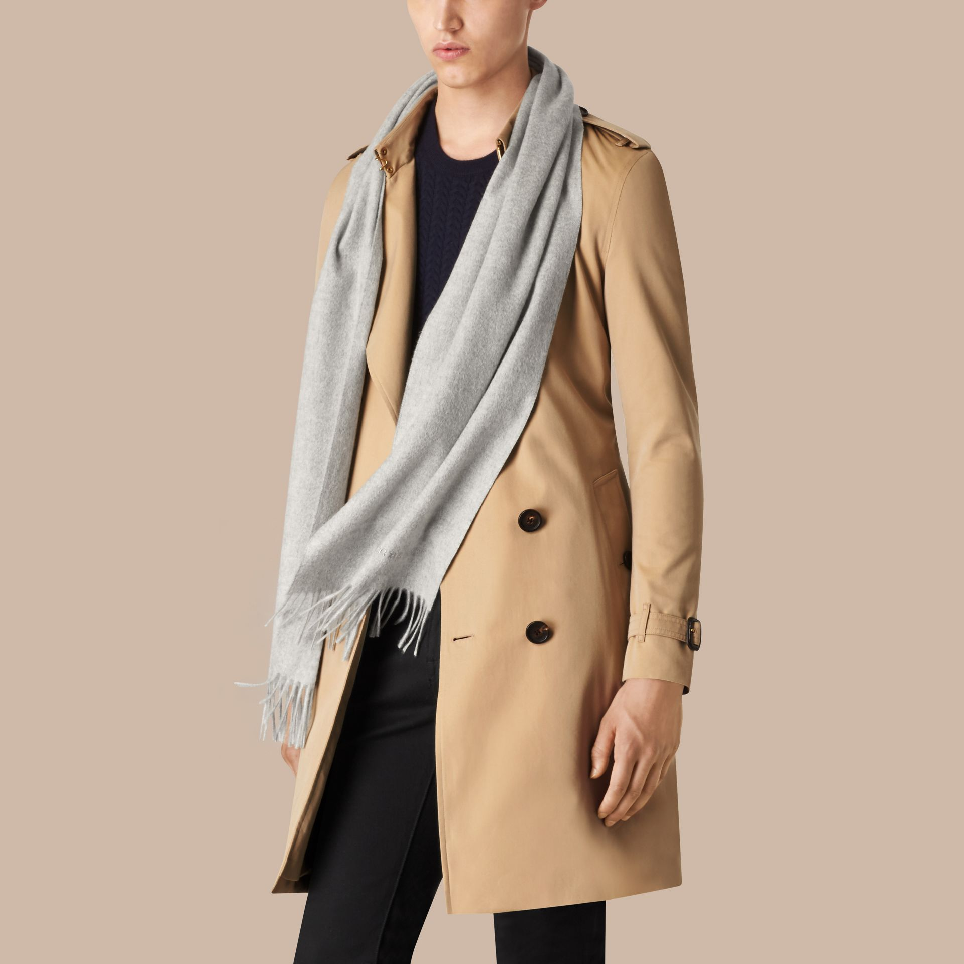 Pale grey The Classic Cashmere Scarf Pale Grey - gallery image 4