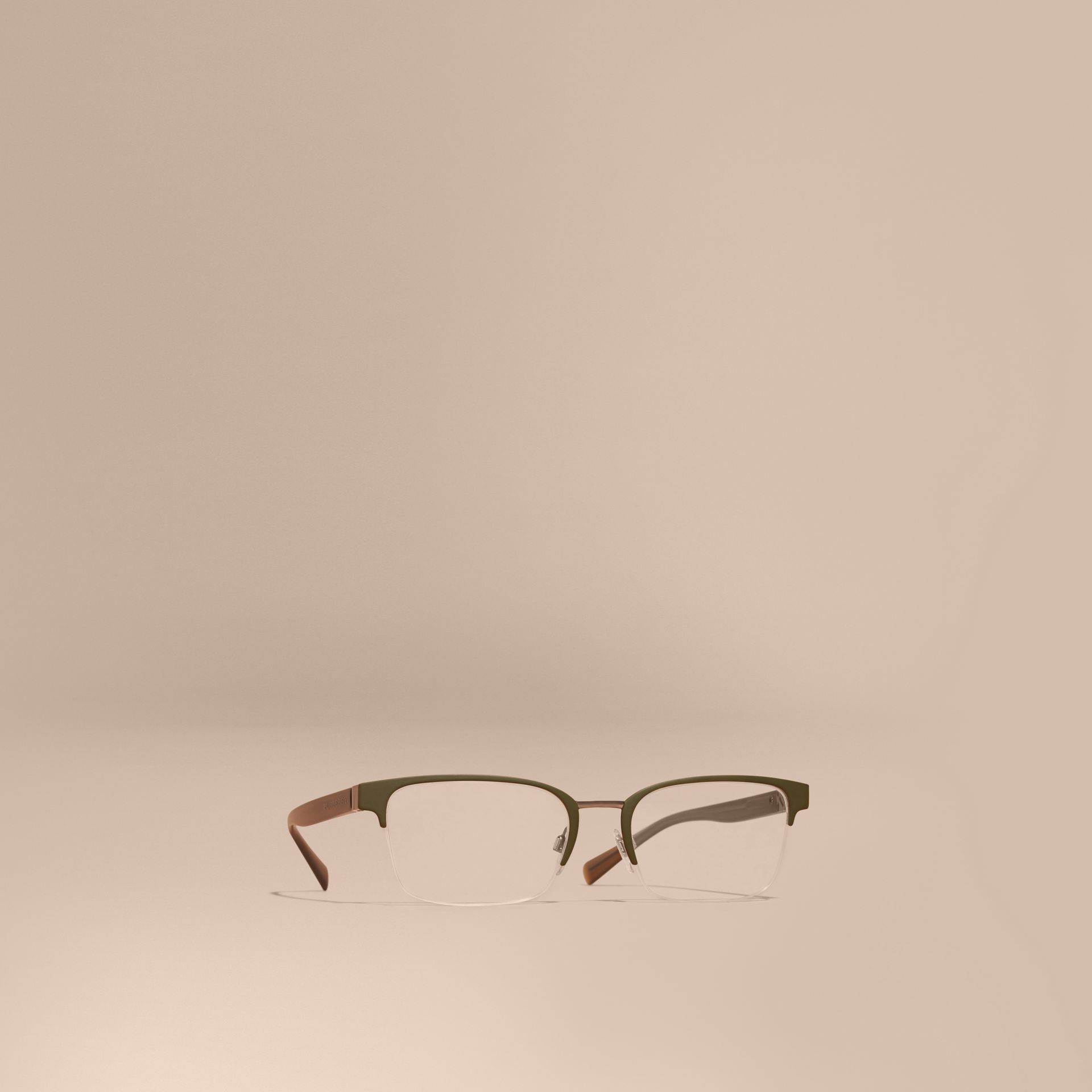 Half-rimmed Rectangular Optical Frames Olive - gallery image 1