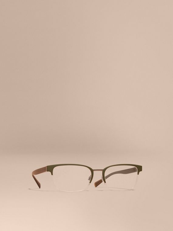 Half-rimmed Rectangular Optical Frames Olive