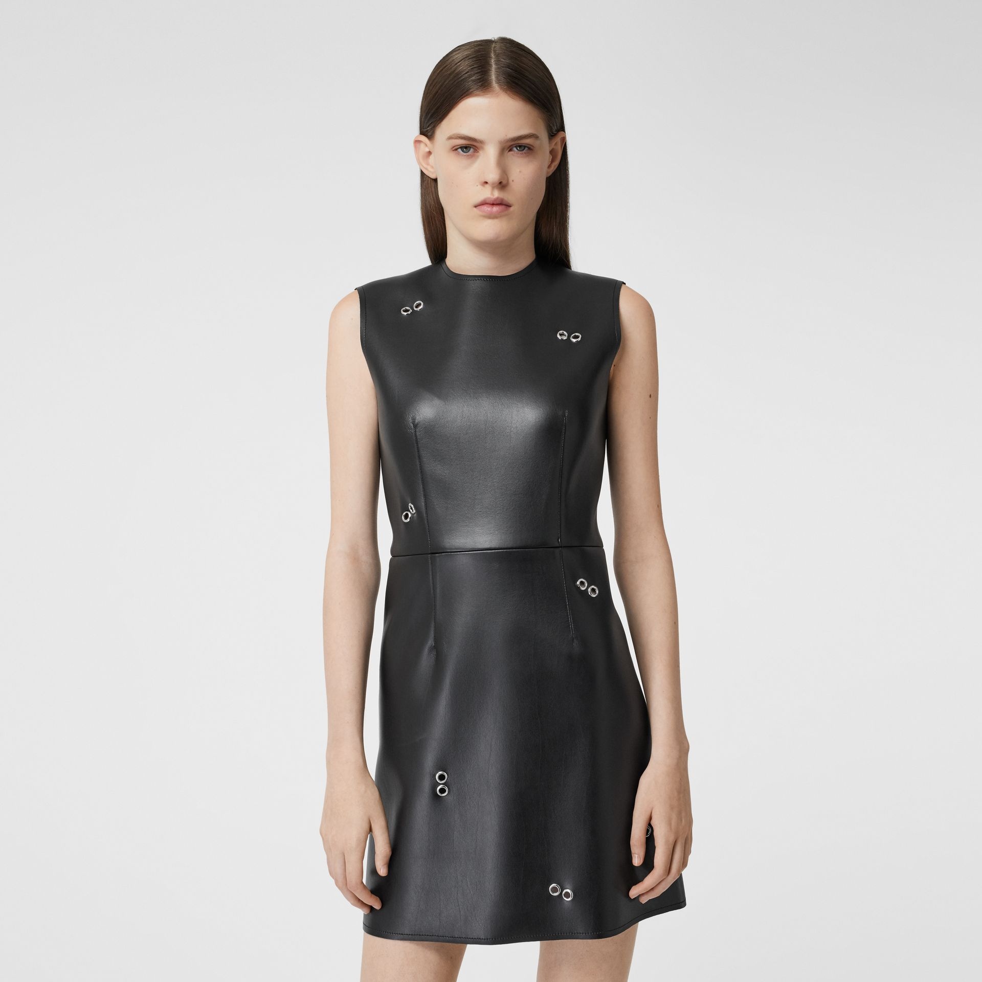 Embellished Faux Leather Mini Dress in Black - Women | Burberry - gallery image 5