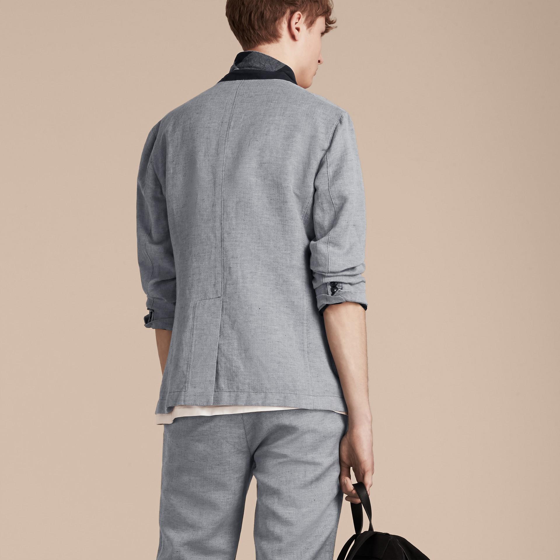 Pale blue Herringbone Linen Cotton Tailored Jacket Pale Blue - gallery image 3