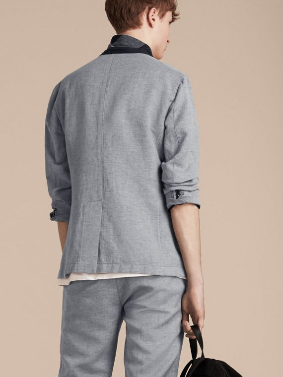 Pale blue Herringbone Linen Cotton Tailored Jacket Pale Blue - cell image 2