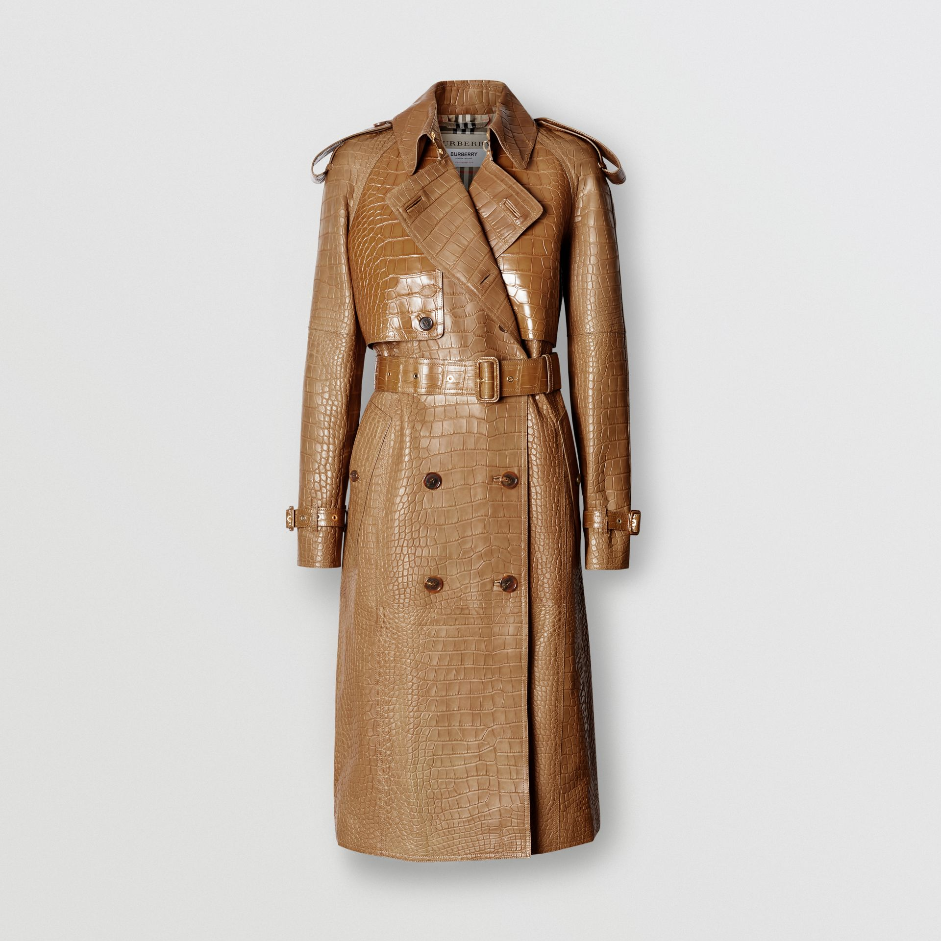 Alligator Trench Coat in Flaxseed - Women | Burberry - gallery image 3