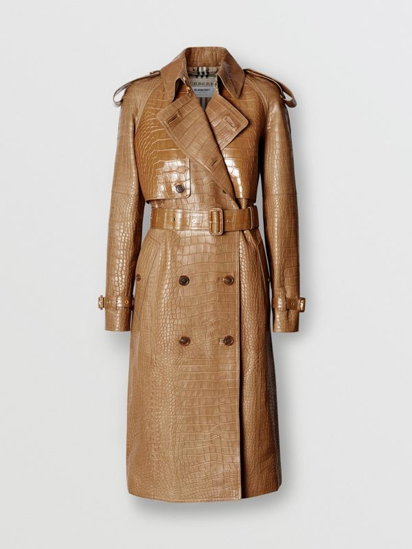 Alligator Trench Coat in Flaxseed - Women | Burberry - cell image 3