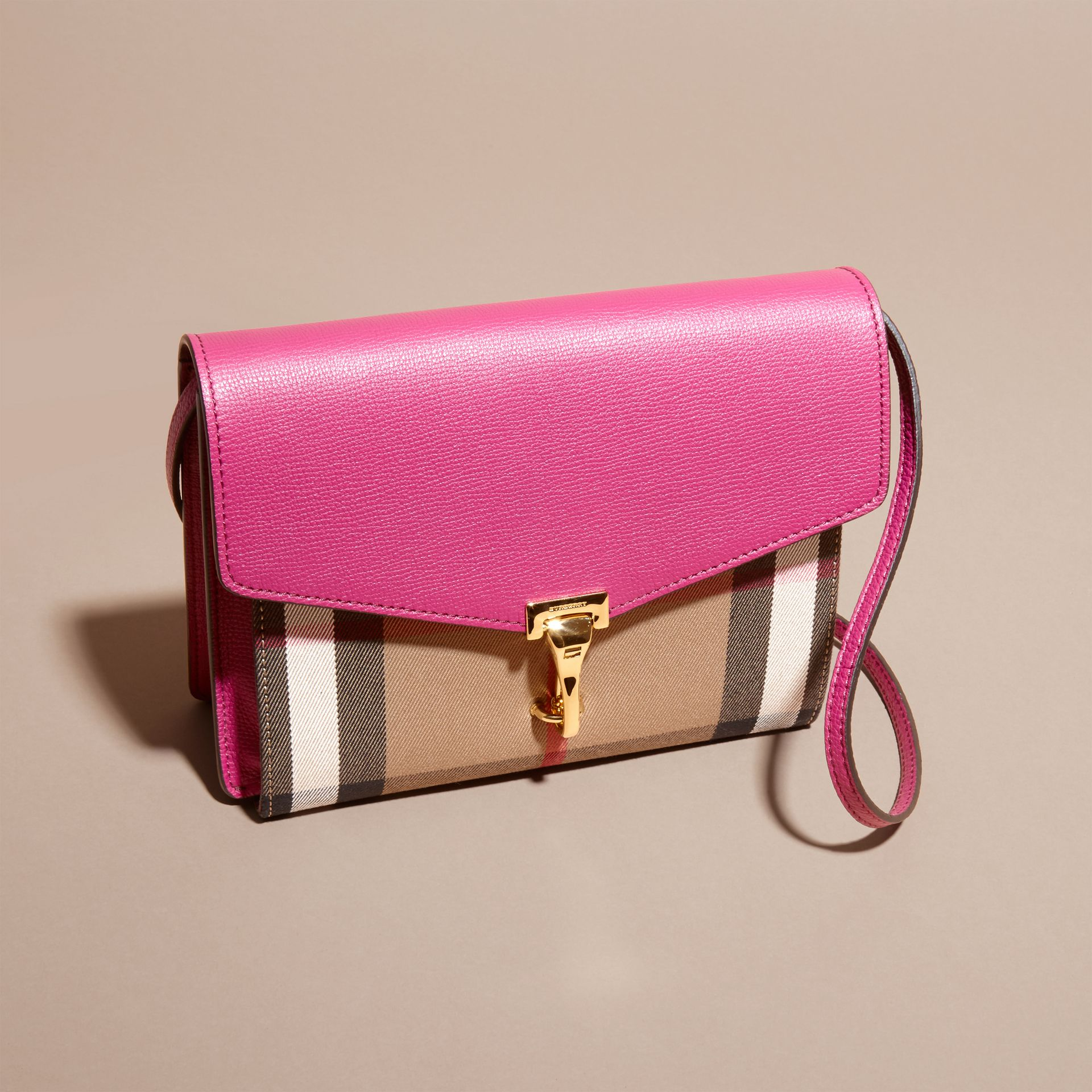 Brilliant fuchsia Small Leather and House Check Crossbody Bag - gallery image 8