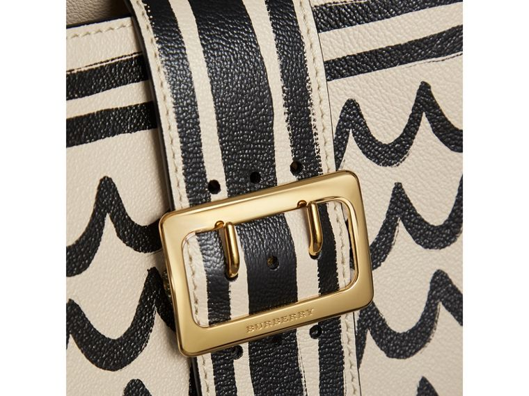 The Medium Buckle Tote in Trompe L'oeil Print Leather in Limestone - Women | Burberry - cell image 1