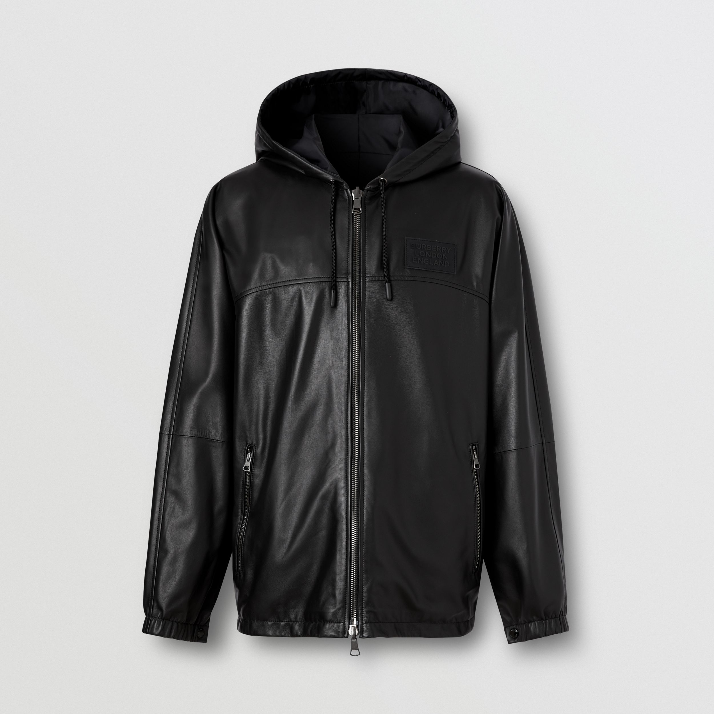 Reversible Lambskin and Nylon Hooded Jacket in Black - Men | Burberry - 4