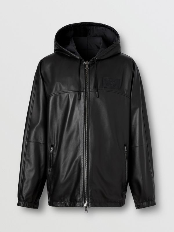 Reversible Lambskin and Nylon Hooded Jacket in Black - Men | Burberry - cell image 3