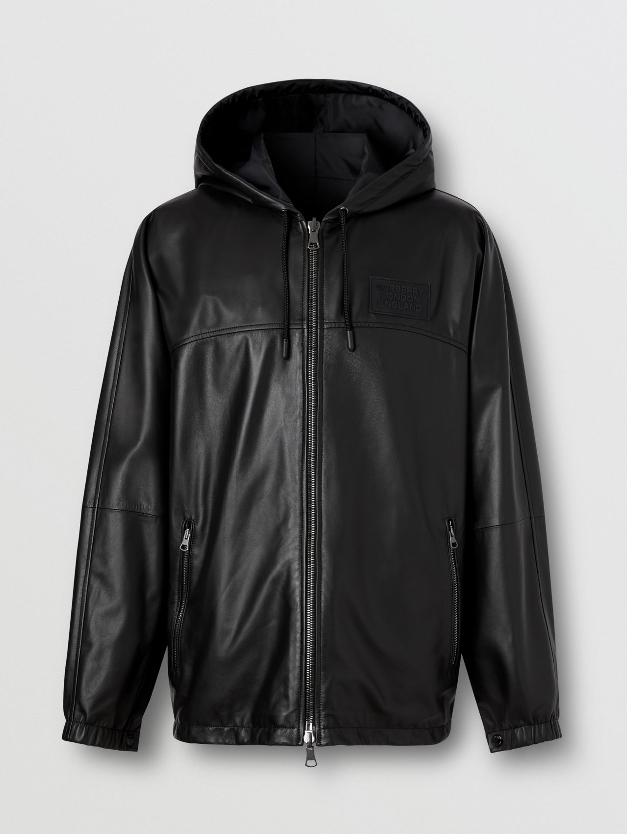 Reversible Lambskin and Nylon Hooded Jacket in Black