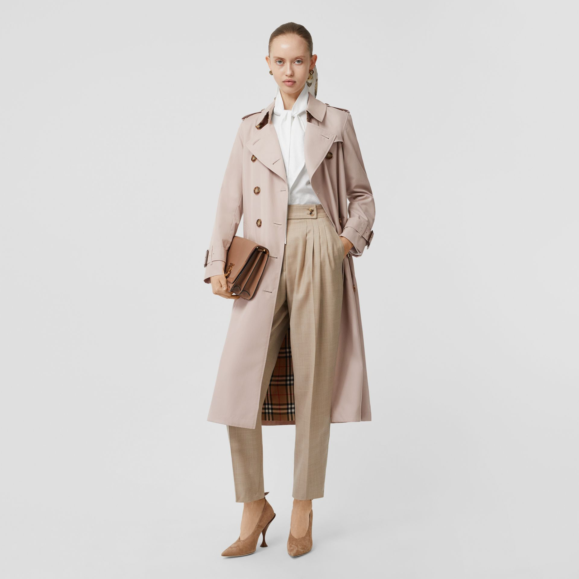 Cotton Gabardine Trench Coat in Pale Blush - Women | Burberry - gallery image 0