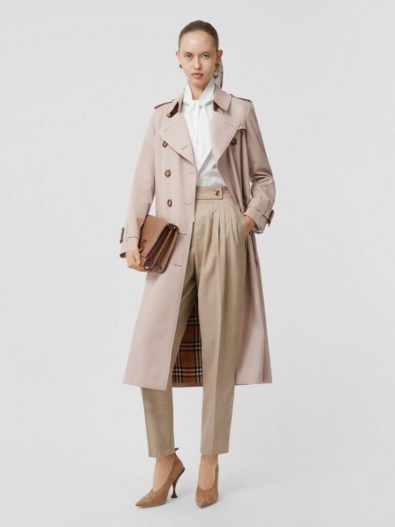 Cotton Gabardine Trench Coat in Pale Blush