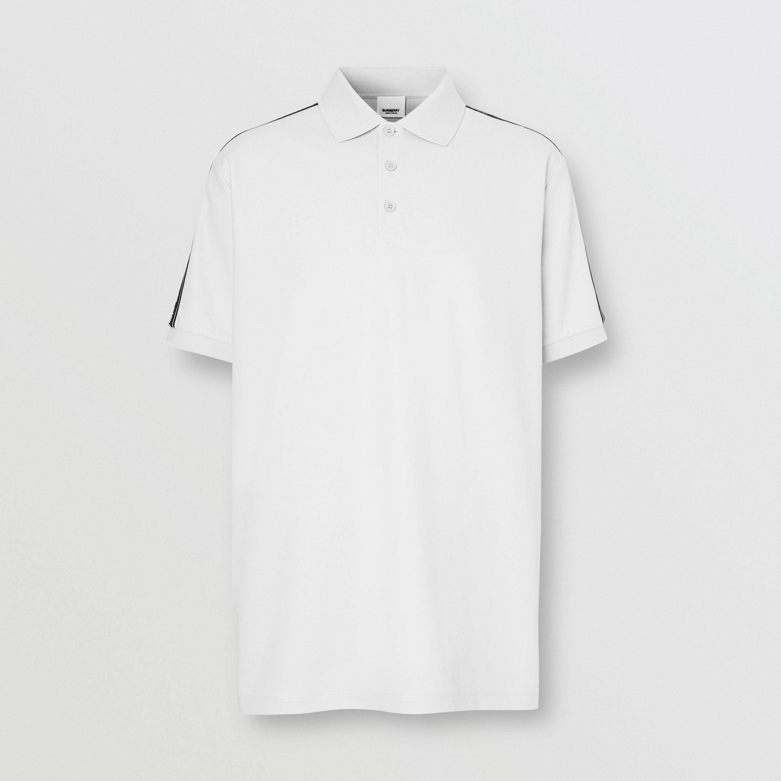 Logo Tape Cotton Piqué Polo Shirt in White - Men | Burberry - 4