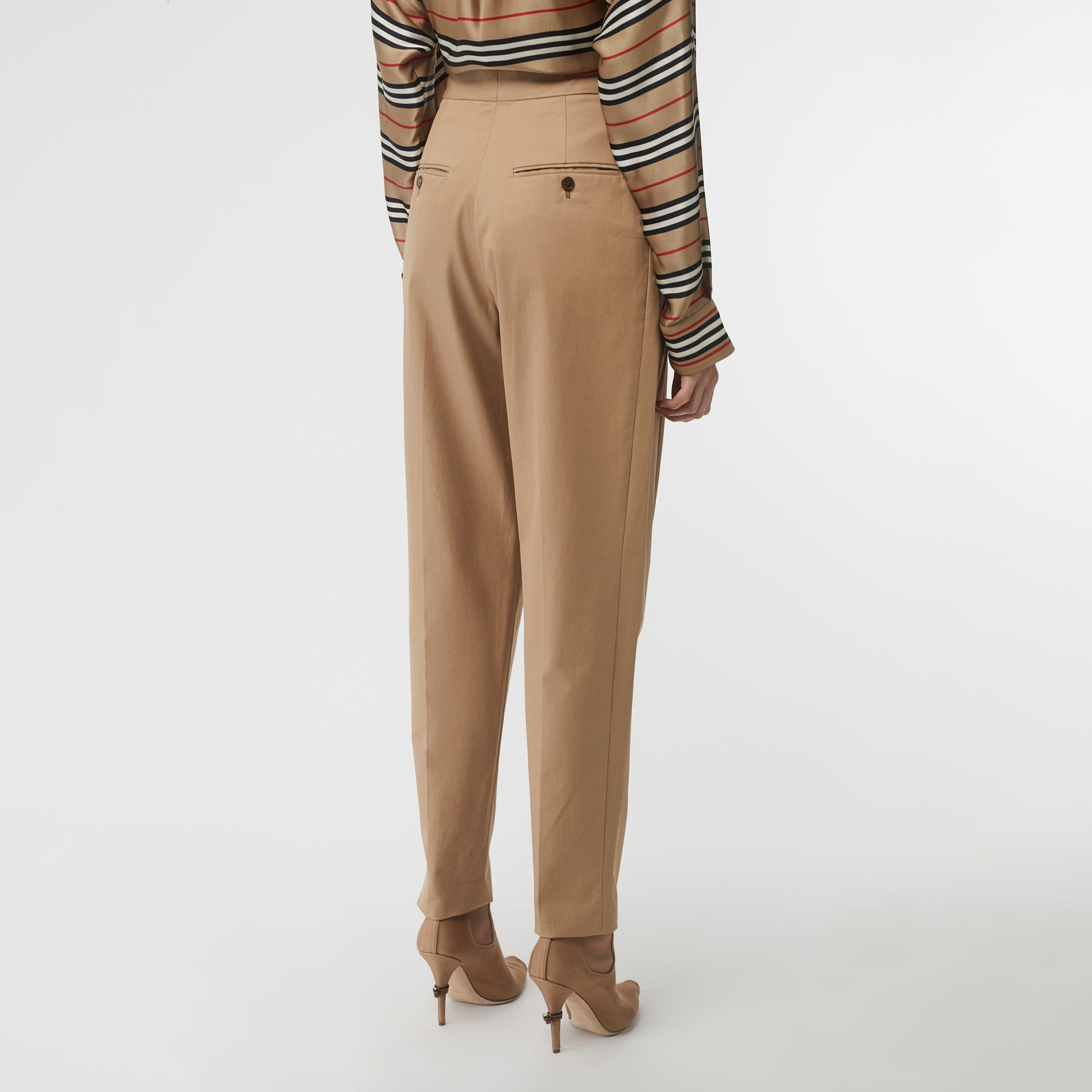 Scarf Detail Cotton Tapered Trousers in Driftwood - Women | Burberry Canada - gallery image 2