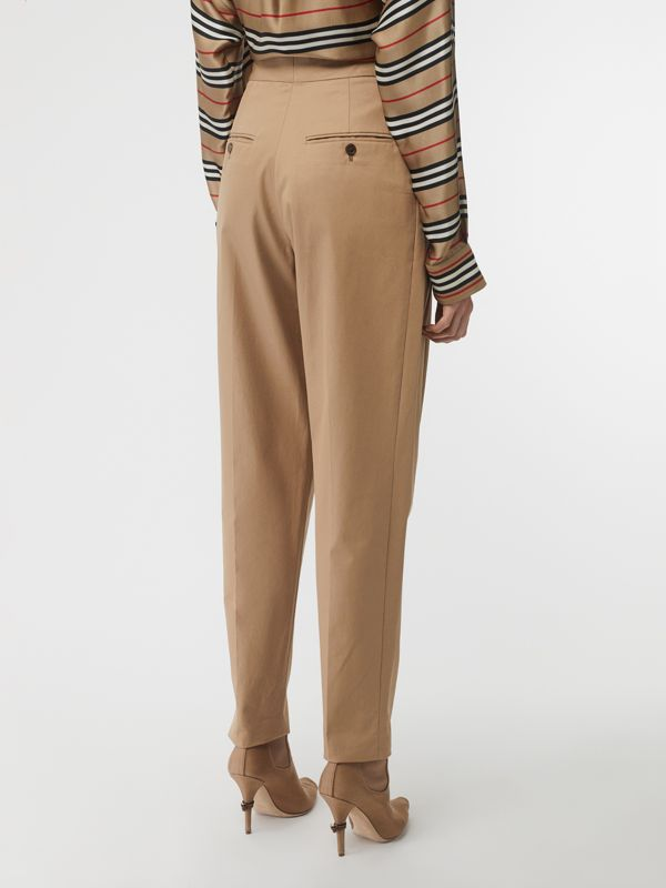 Scarf Detail Cotton Tapered Trousers in Driftwood - Women | Burberry - cell image 2