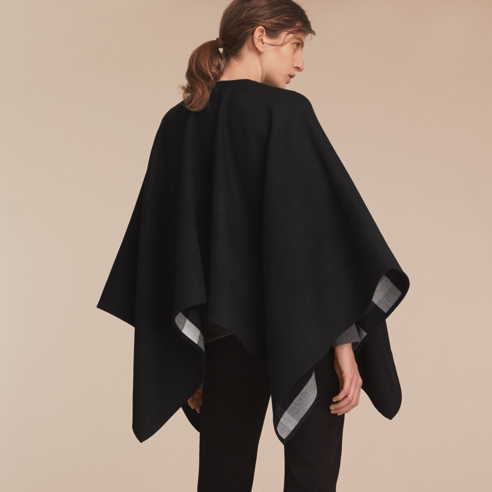 Merino Wool Poncho in Black - Women | Burberry Australia - gallery image 3