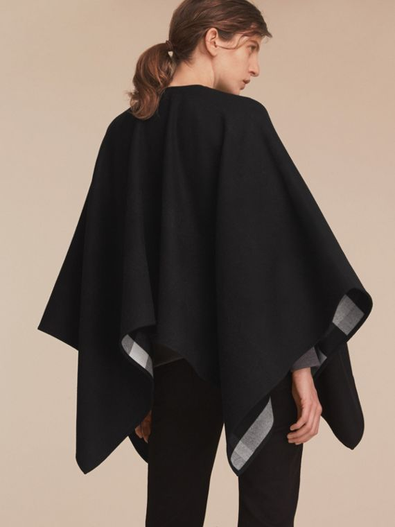 Merino Wool Poncho in Black - Women | Burberry Australia - cell image 2