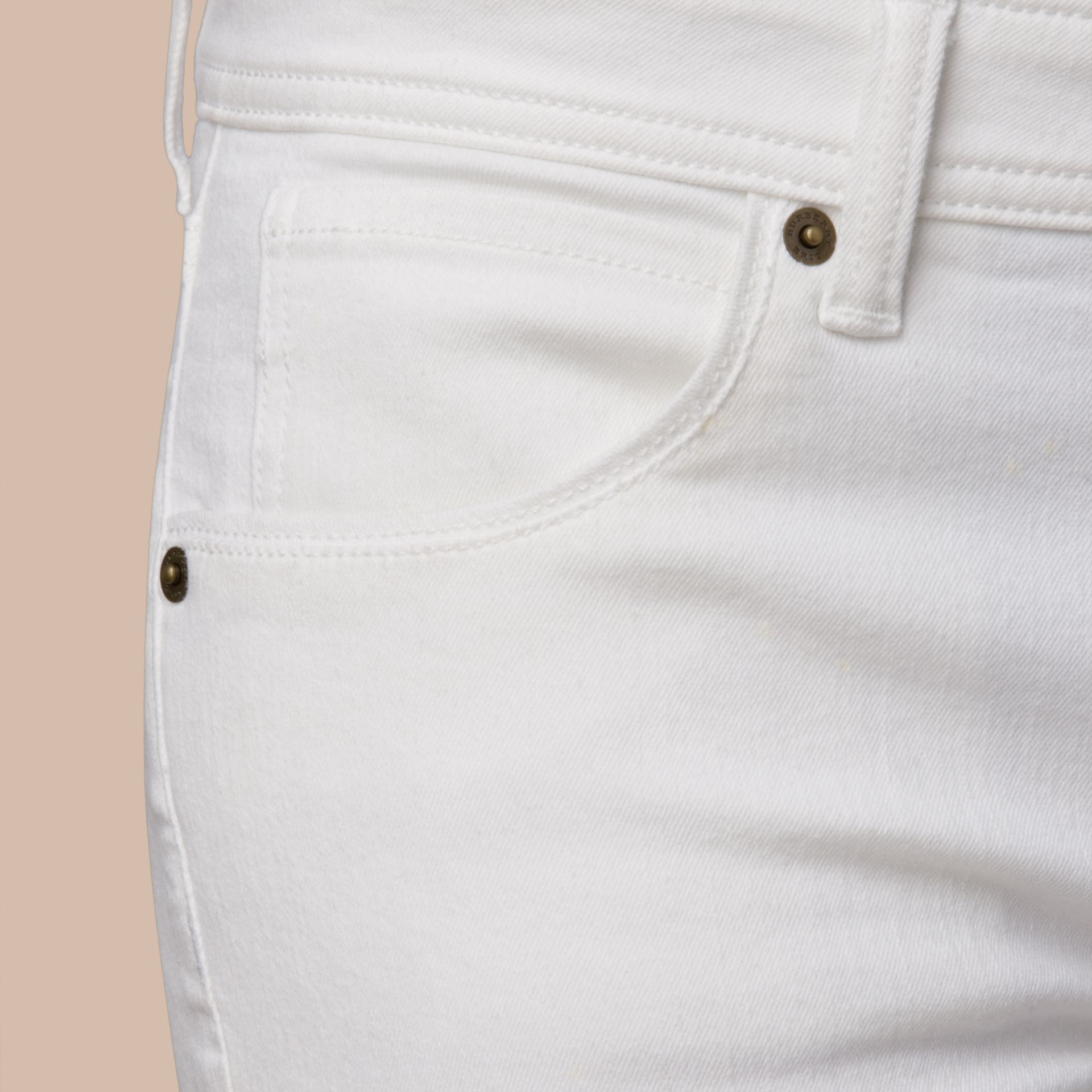 Skinny Fit Low-Rise White Jeans - gallery image 2