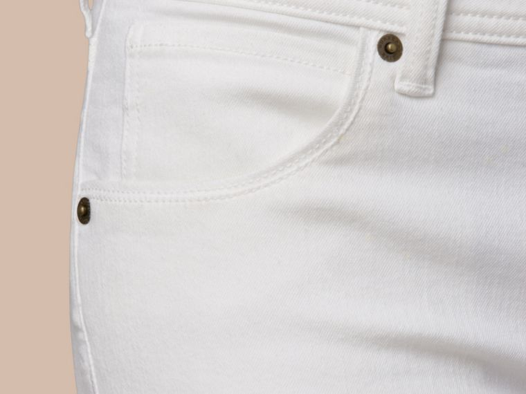 Skinny Fit Low-Rise White Jeans - Women | Burberry - cell image 1