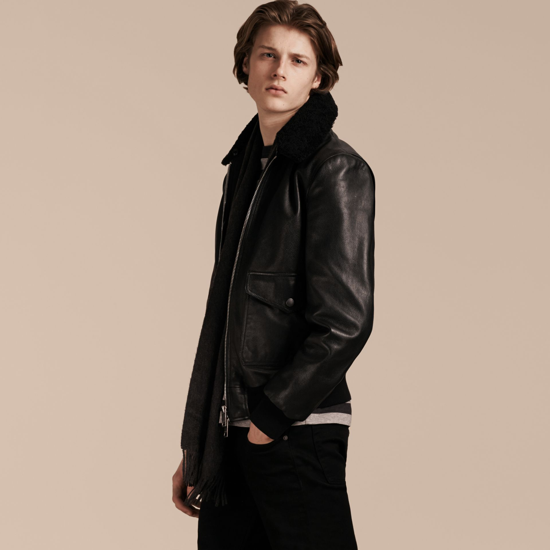 Black Leather Jacket with Detachable Shearling Collar - gallery image 8