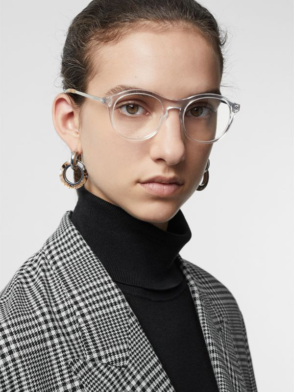 Vintage Check Detail Round Optical Frames in Crystal - Women | Burberry - cell image 2