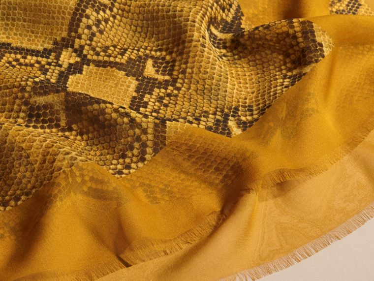 Amber yellow Python Print Silk Scarf Amber Yellow - cell image 1