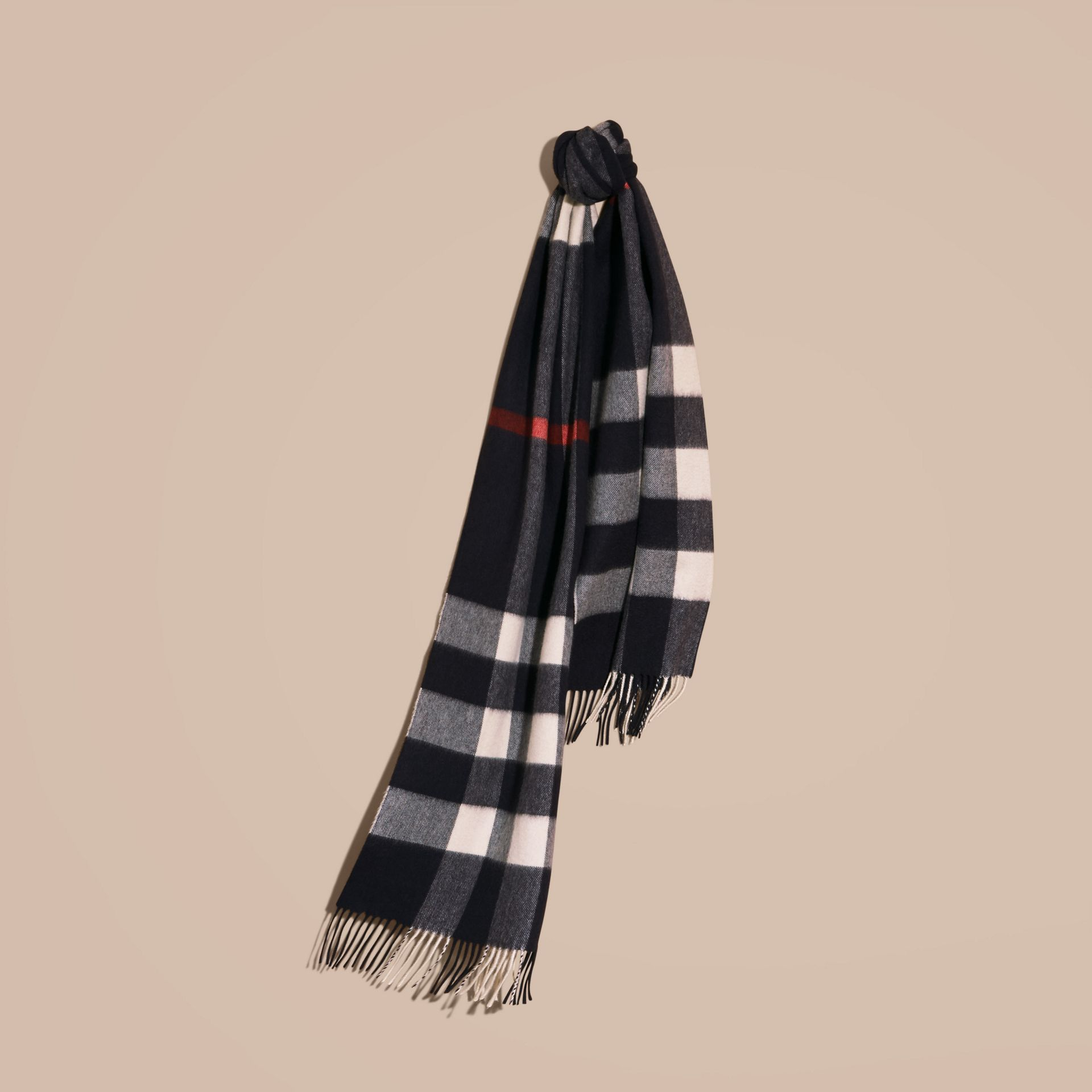The Large Classic Cashmere Scarf in Check in Navy - gallery image 6