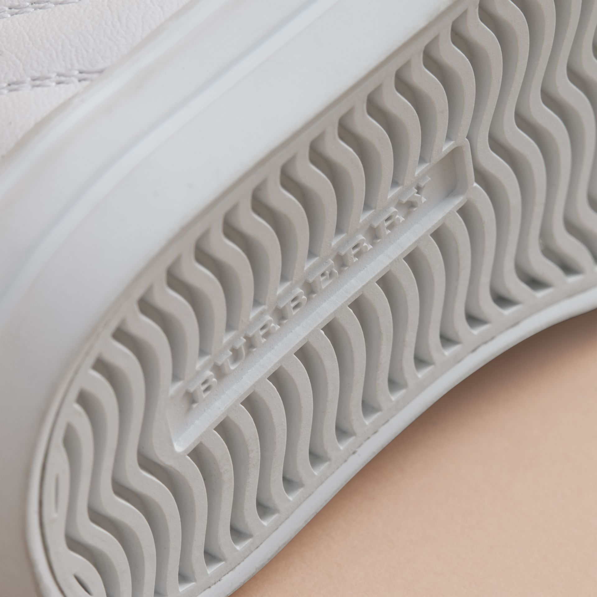 Check Detail Leather Trainers in Optic White | Burberry United States - gallery image 2