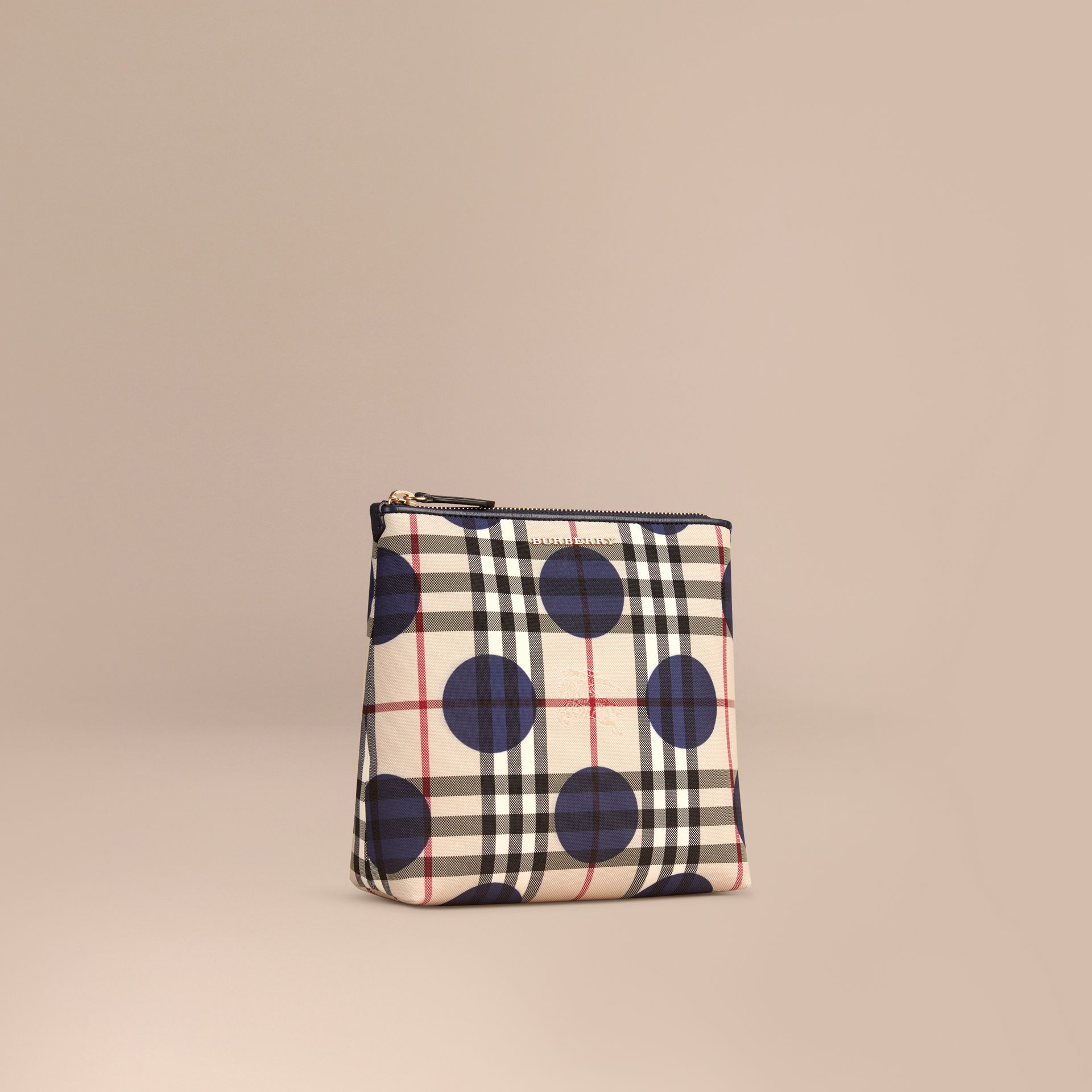 Carbonblau Großer Beutel mit Check- und Punktmuster sowie Lederbesatz Carbonblau - Galerie-Bild 1